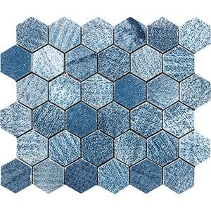 Indigo Indigo Hexagon 2 Marble Mosaics 26,5x31