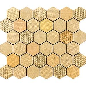 Gold Ottoman Textile Blend Hexagon 2 Marble Mosaics 26,5x31