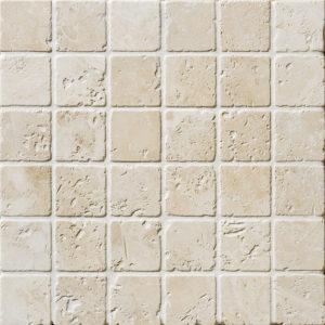 Ivory Tumbled 2x2 Travertine Mosaics 30,5x30,5