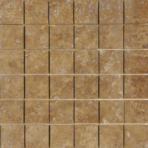 Walnut Dark Honed&filled 5x5 Travertine Mosaics 30,5x30,5