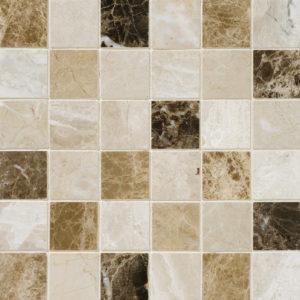 Milano Dark Blend Polished 5x5 Marble Mosaics 30,5x30,5