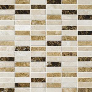Milano Dark Blend Polished 1,5x5 Marble Mosaics 30,5x30,5