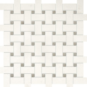 Champagne&olive Green Honed Basket Weave Limestone Mosaics 30,5x30,5