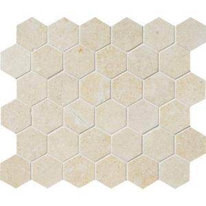 Casablanca Honed Hexagon Limestone Mosaics 26,5x31