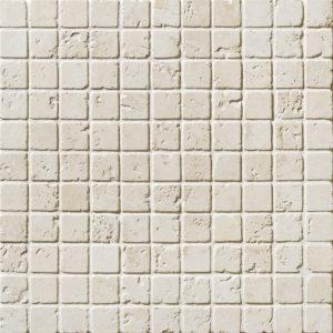 Ivory Tumbled 1x1 Travertine Mosaics 30,5x30,5