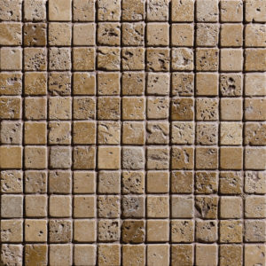 Walnut Dark Tumbled 2,3x2,3 Travertine Mosaics 30,5x30,5