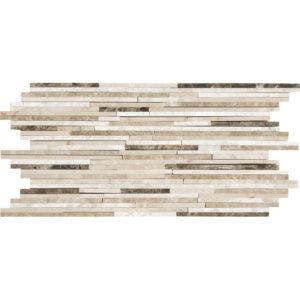 Milano Dark Blend Polished Bamboo Marble Mosaics 15,2x30,5