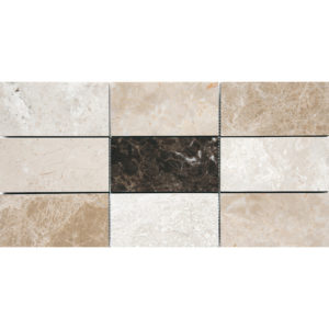 Milano Dark Polished Subway On Mesh Marble Mosaics 21,5x42,5