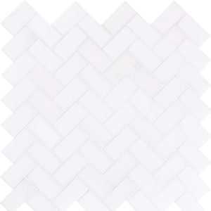 Snow White Polished Herringbone Marble Mosaics 30,5x33,5