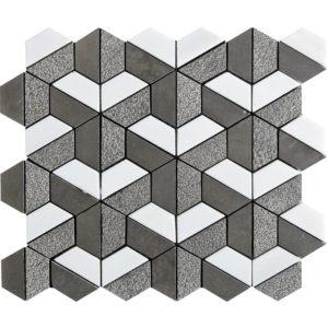 Bosphorus&show Whi Textured Hexagon Limestone Mosaics 26,5x31