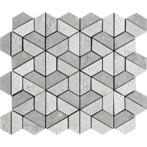 Britannia Blend Textured Hexagon Marble Mosaics 26,5x31