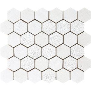 Champagne Textured Hexagon Limestone Mosaics 26,5x31