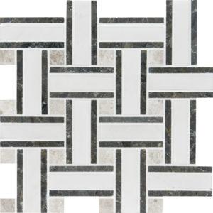 Aspen White Honed Lattice Marble Mosaics 30,5x30,5