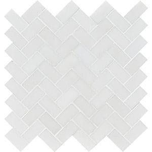 Aspen White Honed Herringbone Marble Mosaics 30,5x33,5