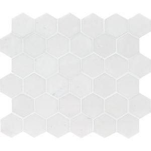 Aspen White Honed Hexagon Marble Mosaics 26,5x31