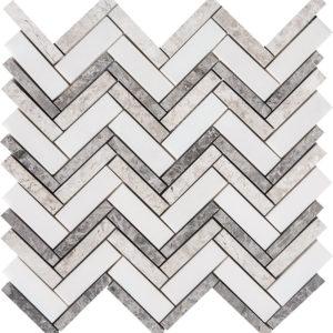 Granada Blend Polished Herringbone Marble Mosaics 30,5x30,5