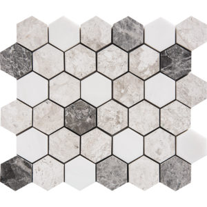 Granada Blend Polished Hexagon Marble Mosaics 26,5x31