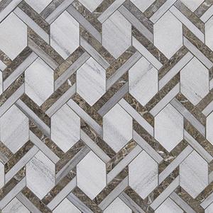 Skyline, Silver Drop Multi Finish Braided Hexagon Marble Mosaics 24,6x41,7