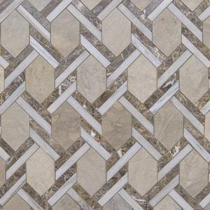 Britannia, Skyline, Silver Drop Multi Finish Braided Hexagon Marble Mosaics 24,6x41,7