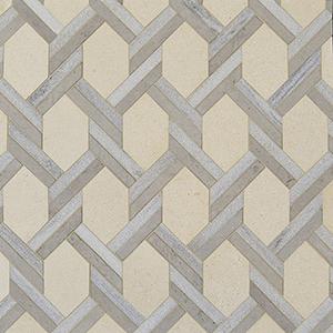 Champagne, Skyline, Britannia Multi Finish Braided Hexagon Marble Mosaics 24,6x41,7