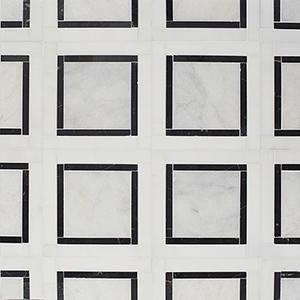 Glacier, Black, Snow White Multi Finish Cambridge Marble Mosaics 32,7x32,7