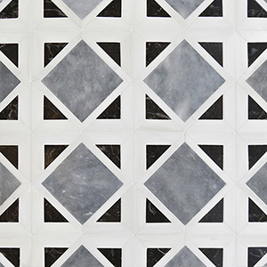 Snow White, Black, Allure Polished Kent Marble Mosaics 34,5x34,5
