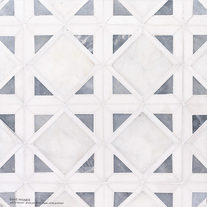 Snow White, Allure, Glacier Multi Finish Kent Marble Mosaics 34,5x34,5