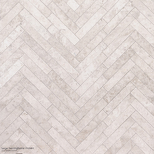 Silver Shadow Honed Large Herringbone Marble Mosaics 32,7x21,8