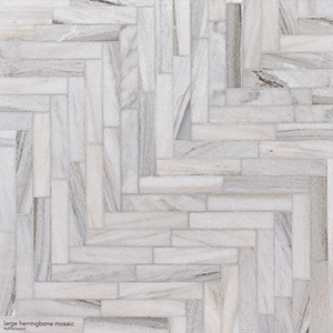 Skyline Honed Large Herringbone Marble Mosaics 32,7x21,8