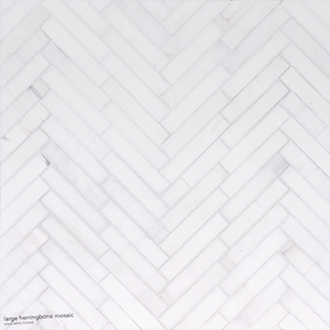 Snow White Polished Large Herringbone Marble Mosaics 32,7x21,8