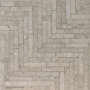 Britannia Honed Large Herringbone Limestone Mosaics 32,7x21,8