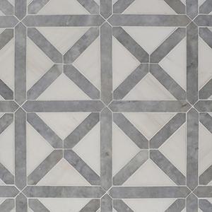 Avenza, Snow White Honed Large Lattice Marble Mosaics 35,2x35,2