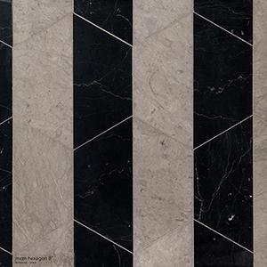 Britannia, Black Honed Mcm Hexagon 8 Marble Mosaics 20