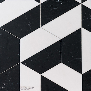 Snow White, Black Honed Mcm Hexagon 8 Marble Mosaics 20