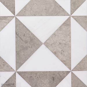 Britannia, Snow White Honed Mcm Square Limestone Mosaics 20x20