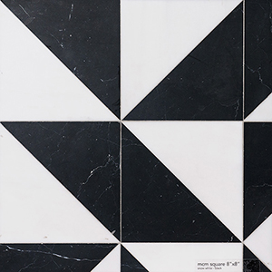 Snow White, Black Honed Mcm Square Marble Mosaics 20x20