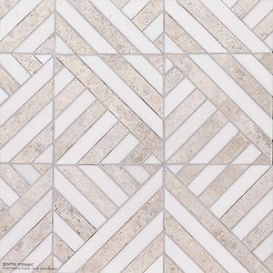 Silver Shadow, Snow White Honed Ponte Marble Mosaics 36,4x36,4