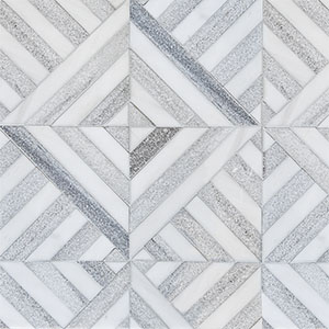 Snow White, Skyline Multi Finish Ponte Marble Mosaics 36,4x36,4