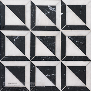 Black, Glacier Honed York Marble Mosaics 30,3x30,3