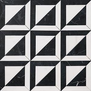 Black, Snow White Honed York Marble Mosaics 30,3x30,3