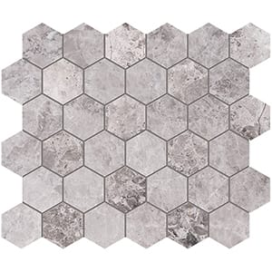 New Tundra Gray Polished Hexagon Marble Mosaics 26,5x31
