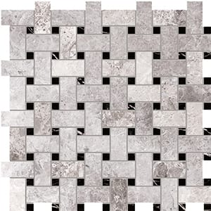 New Tundra Gray Honed Basket Weave Marble Mosaics 30,5x30,5