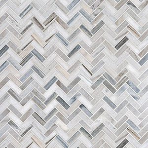 Skyline Polished Herringbone Marble Mosaics 30,5x33,5