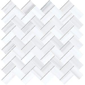 Bianco Dolomiti Classic Honed Herringbone Marble Mosaics 30,5x33,5