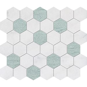 Verde Capri, Avalon Leather Hexagon Marble Mosaics 26,5x31