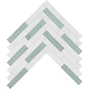 Verde Capri, Glacier Leather Large Herringbone Marble Mosaics 32,70x21,74