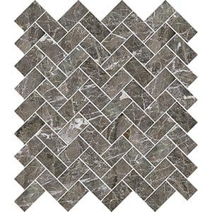 Arctic Gray Polished Herringbone Marble Mosaics 30,5x33,5