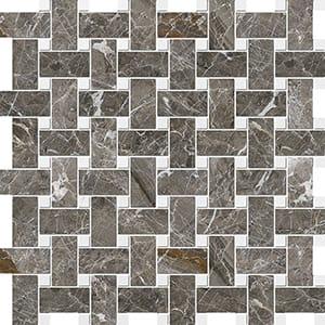 Arctic Gray Polished Basket Weave Marble Mosaics 30,5x30,5