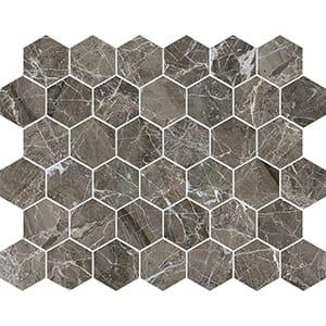 Arctic Gray Polished Hexagon Marble Mosaics 26,5x31