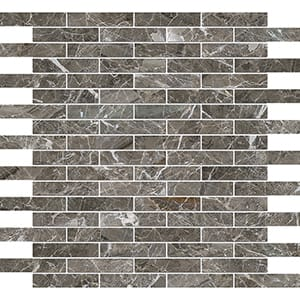 Arctic Gray Polished 1,5x7,6 Marble Mosaics 30,5x30,5